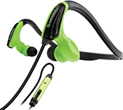 GOgroove Green Fitness Headphones with in-Line Microphone and Flexible Neckband for Running, Jogging, Hiking, and Cycling -AudiOHM CFT's Works with Apple iPhone 6s, Samsung Galaxy S7, LG G5