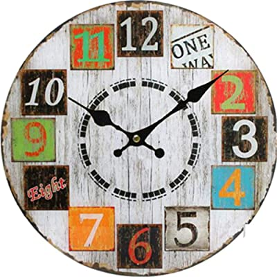 Imoerjia American Clocks Living Room Bedroom Ideas Round Wooden Wall Clock, Dia 30Cm