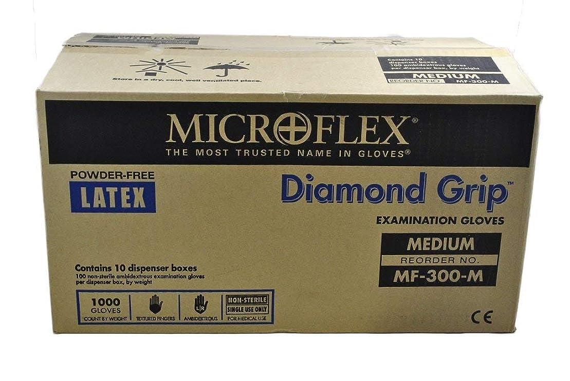 やさしい専制ゆりMicroflex MF300M-10PK - Diamond Grip Powder-Free Latex Gloves - Case Of 10 Boxes, 100 Per Box, Medium by Microflex