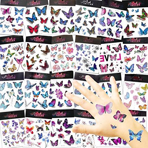 EKKONG Tattoo Kinder, Schmetterling Temporäre Tattoos, 270 Stück Tier Tattoos Set für Geburtstag Festival Party Geschenk Mitgebsel Dekoration, Mädchen Jungen (24Blatt)
