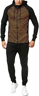 neveraway Men's Relaxed 2 Piece Set Stripe Hoode Zip Athletic Fit Sport Tracksuit