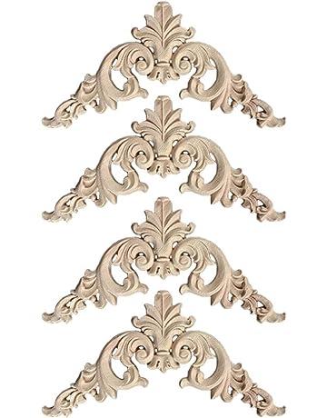 4 Pezzi di mobili Applique Bellissimo Motivo Floreale Intagliato in Legno Applique mobili Europei Patch Decorazione Accessori per Porte da Giardino