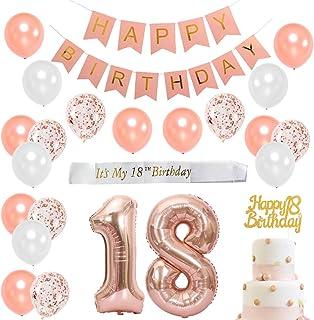 Dieciocho cumpleaños con decoraciones en oro rosa para niña - Artículos para fiesta de cumpleaños con faja blanca satinada, adorno para pasteles, globos número 18, pancarta rosa para feliz cumpleaños