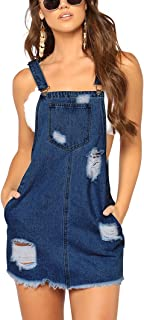 Women Sexy Adjustable Sleeveles Strap Ripped Pockets Denim Jeans Bodycon Overall Mini Dress