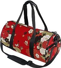 DEZIRO Rode Japanse Bloemen Stijl Sport Duffle Bag Drum Sporttas