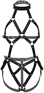 iEFiEL Women's PU Leather Full Body Chest Harness Strappy Teddies Bodysuit Costumes Lingerie Outfits
