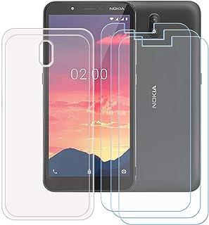 TTJ Transparent skal till Nokia C2 + [3 stycken] HD pansarglas, mobiltelefonfodral silikon skyddsskal TPU Case mobilväska...