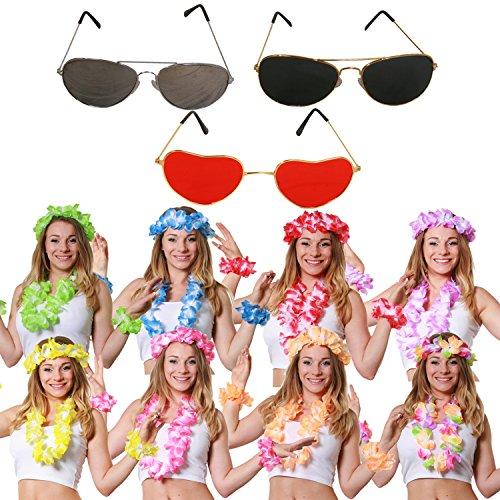 Juego de disfraces para adultos y mujeres de Hawai Lei y gafas – perfecto para disfraz de fiesta de verano Hawai Luau – 4 piezas LEI y lentes negras