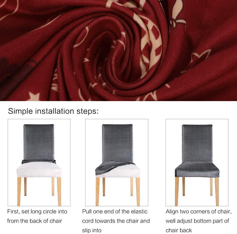 JuneJour 1//2//4//6 PCS Christmas Stretch Dining Chair Slipcovers Elastic Chair Protector Seat Covers Slipcovers for Dining Room Wedding Banquet Red-green Tree, 4 PCS