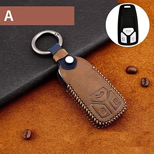QND,Schlüsselhülle,Handgefertigte Autoschlüssel-Schlüsselhülle aus echtem Leder für Audi A6L Q5L A3 Q3 Q5 S3 A4 A4L Q7 A5 2018 Schlüsseltaschenhülle, A Braun