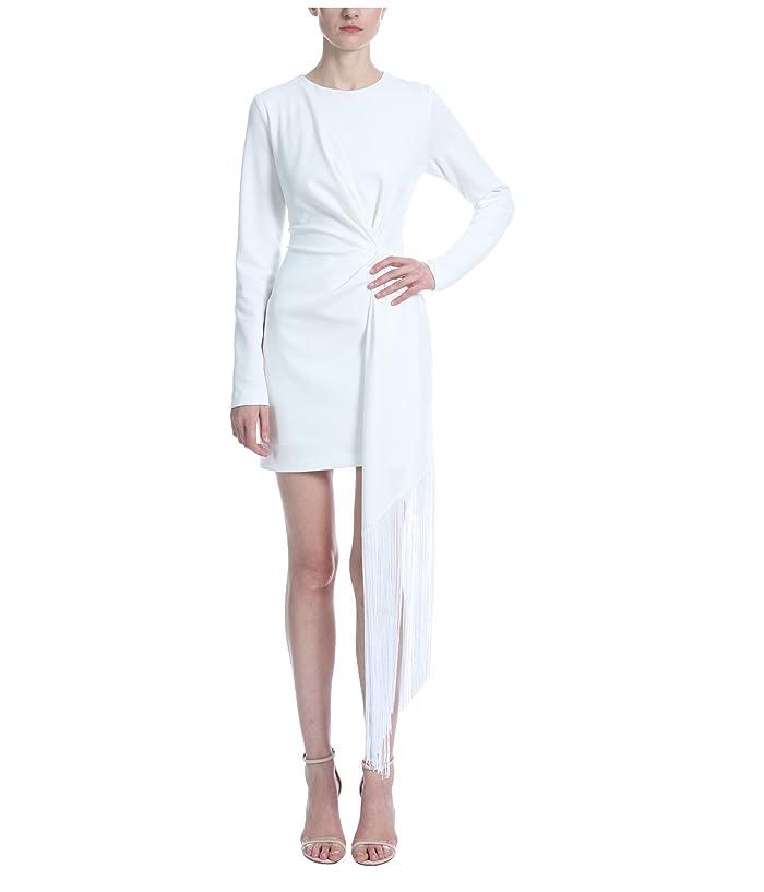 Badgley Mischka  White Crepe Fringe Mini (Ivory) Womens Clothing