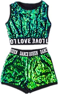 أزياء تنكرية للأطفال بنات الهيب هوب الجاز الأداء ملابس الرقص الترتر المدرسة هالوين مجموعة