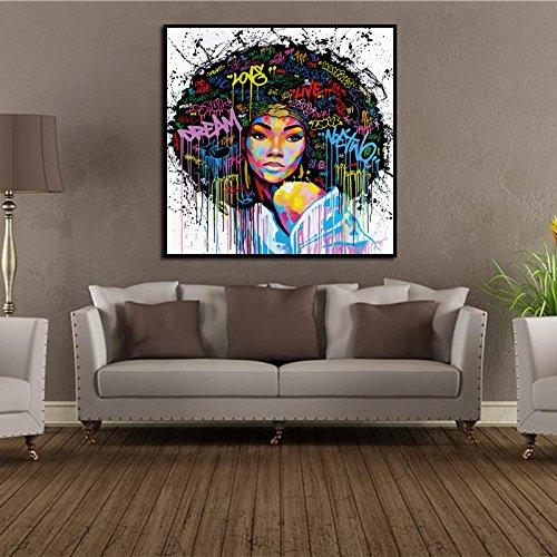 Dinglong Toile Wall Art Peintures Imprimé Les Indiens Hommes Femmes Abstrait Peinture À l'huile HD Imprimer Chambre DéCor Affiche Image Accueil Bureau DéCor CréAtif Cadeau (A, L)