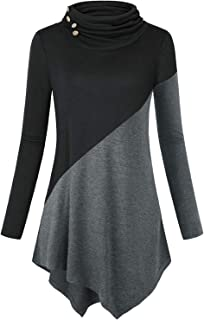 TOPUSH Women's Cowl Neck Long Sleeve Top Asymmetric Hem Button Up Pullover Sweatshirts