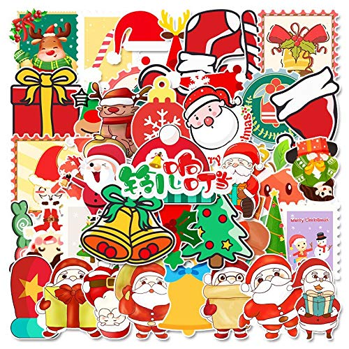 ZXXC Christmas Cartoons Stickers Sheet Santa Claus Animal Deer New Year Holiday Decor For Window Stationery Gifts Box Decal Toy 50Pcs
