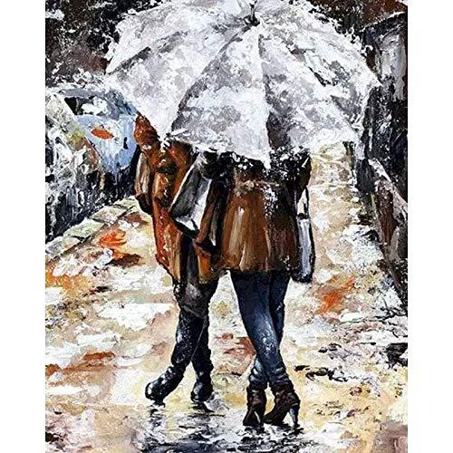 Amante de Bricolaje Pintura por número Pintura de Color de Lluvia por número Amante Pintado a Mano decoración del hogar Pintura Arte de la Pared sobre Lienzo 40x50 cm