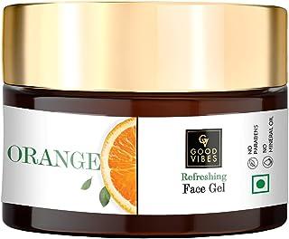 Good Vibes Orange Refreshing Face Gel 50 g, Skin Brightening Hydrating Non Greasy Moisturizing Light Weight Nourishing For...