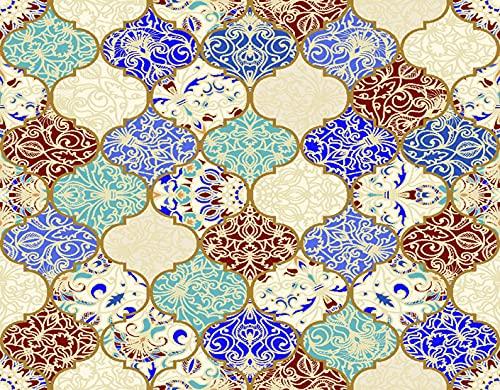 PANILUR DIY 5D Diamond Painting by Number Kits Beige Oriental Ceramic Colorful Patchwork Vintage Multicolor Pattern en Turco Infinito Linóleo Azul, Crystal Rhinestone Diamante Bordado Imágenes fo