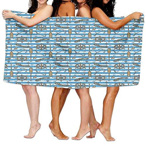 JACARTER PUSAUL Sailor Uniform Stripes Background Cruise Regatta Tourism Classic Llustration Soft Lightweight Beach Towel Pool Towel 31\