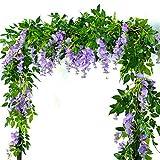 4X Lila 7FT Künstliche Wisteria Vine Garland Pflanzen Foliage Flower Outdoor Home Party Dekor (Lila)