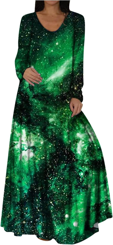 Smooto Maxi Dress Womens Long Sleeve Boho Loose Long Plus Size Dress Party Dress