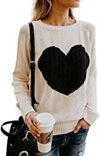 Umeko Womens Sweaters Long Sleeve Cute Heart Cable Knitted Sweatshirts Valentine's Day Pullover Sweater Tops