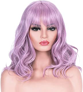 AYSAN Short Wavy Curly Synthetic Light Purple Wigs Shoulder Length Highlight Cosplay Costume Party Wigs with Bangs for Women