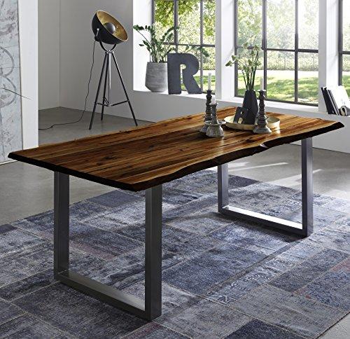 SAM Esszimmertisch 180x90 cm Quintus, echte Baumkante, nussbaumfarben, massiver Esstisch aus Akazienholz, Metallbeine Silber, Baumkantentisch