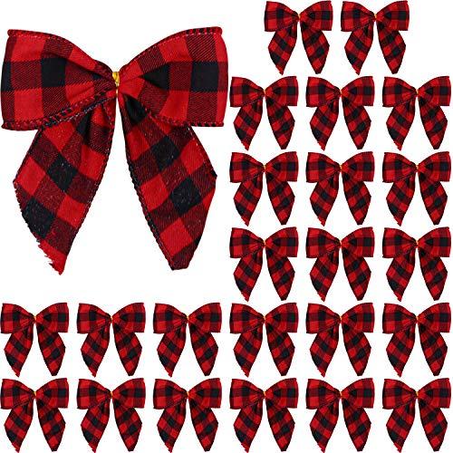 Aneco 24 Pieces Small Christmas Bows Red and Black Buffalo Plaid Bows Xmas Hanging Ribbon Bows for Christmas Tree Home Decor, 5 x 4 Inches