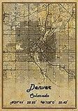 Denver Colorado USA Vintage Map Poster Denver Colorado USA