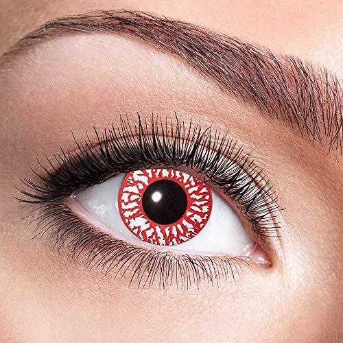 Alsino Farbige Kontaktlinsen Wochenlinsen 1 Paar Bunt Gruselig ohne Stärke für Mottopartys Halloween Fastnacht Karneval Fasching Kostüm Accessoire, (w67) Bloodshot