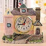 ZHAS Villa Castle Alarm Clock Antique Roman Age Old House Villa Resin Crafts Random Color