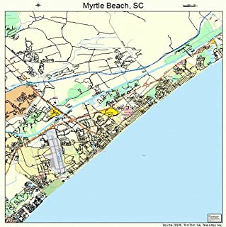 Large Street & Road Map of Myrtle Beach, South Carolina SC - Printed poster size wall atlas of your home t