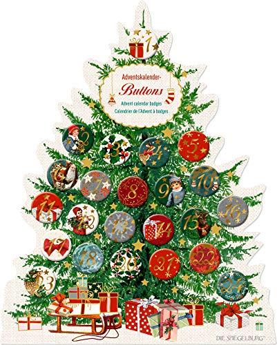 Seasons Greetings Adventskalender Tanne Buttons mit Zahlen Geschenk Weihnachten
