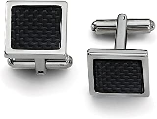 Lex & Lu Chisel Stainless Steel Black Carbon Fiber Cuff Links 16mm