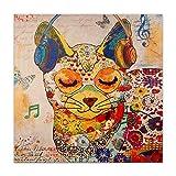 ADM - Gato Pop Art - Cuadro, Grabado Moderno sobre Lienzo con Adornos en Relieve Hechos a Mano y montado sobre Bastidor estético Alto - Multicolor - H80 cm