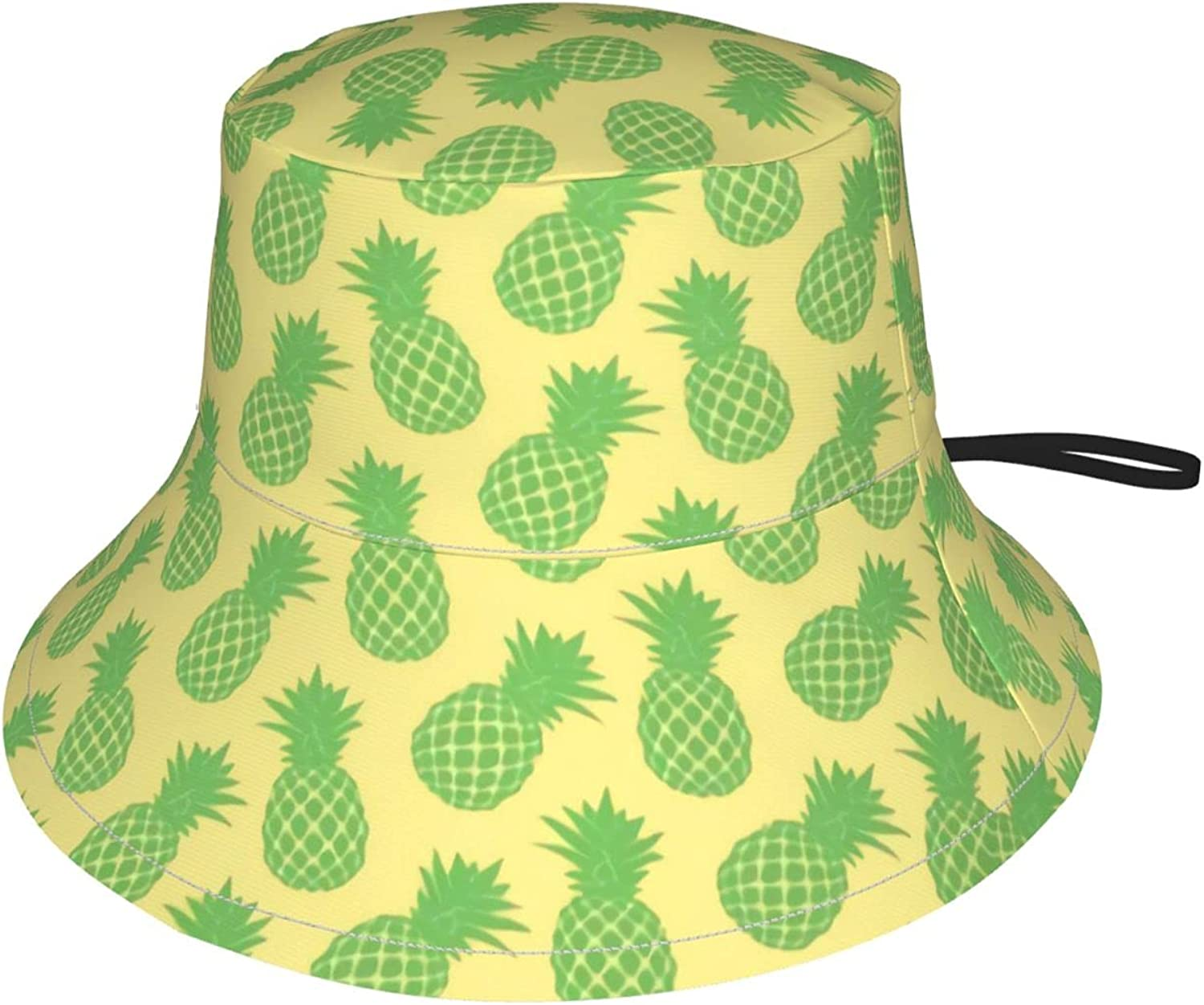 Pineapple Pattern Tropical Watercolor Kids Bucket Hat Sun Protection Hat for Boys Girls Summer Hat Black