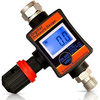 Air Pressure Regulator, Digital Air Pressure Gauge for Compressor Tools, Spray Guns, Plasma Cutters, and Air Tools By Lematec (DAR06E-1)
