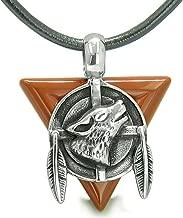 BestAmulets Amulet Arrowhead Howling Wolf Trinity Dreamcatcher Red Jasper Leather Pendant Necklace