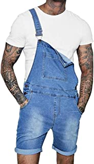 Mens Denim Bib Overall Shorts Above Knee Length Rompers Walk Dungaree Jumpsuit Relaxed Fit