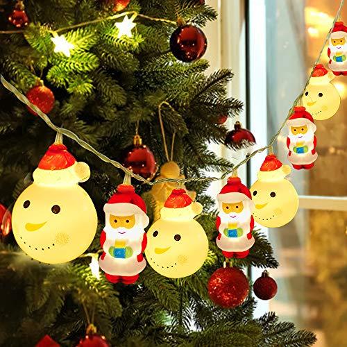 Decoraciones de Navidad Luces LED,3M 20LED Luces de Papá Noel Luces Decorativas para Jardines,Hogar, Boda,Fiesta de Navidad, con Pilas, Blanco Cálido