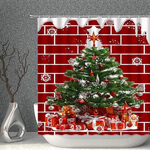 FHUA Shower Curtains Weihnachten Schneeflocke Duschvorhang Fantasie Abstrakte Schneeflocken für Neujahr rot Hintergr& Dekor Stoff Polyester Badezimmer Gardinen mit Haken 90x70 Zoll