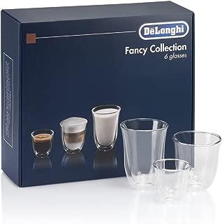 DeLonghi America 551329971 Fancy Collection double Walled Thermo Espresso, Cappuccino & Latte Macchiato Glasses (Set of 6), Clear