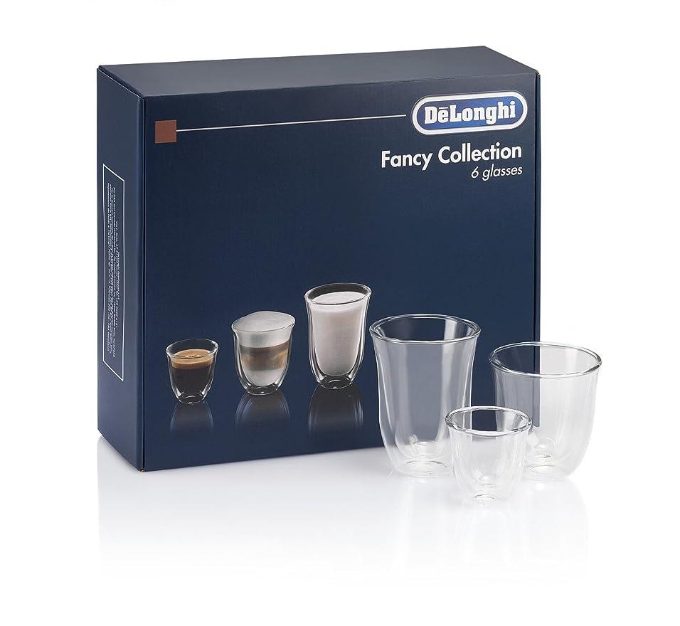 スリラー甘いふりをするDeLonghi America 551329971 Fancy Collection double Walled Thermo Espresso, Cappuccino & Latte Macchiato Glasses (Set of 6), Clear