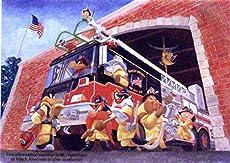 "Fireman Series Daffy Duck, Bugs Bunny and Crew in Where One Goes, We All Go Warner Bros. Artwork. Ltd. Run Mini Print Custom Matted to 8\\"" x 10\\"""