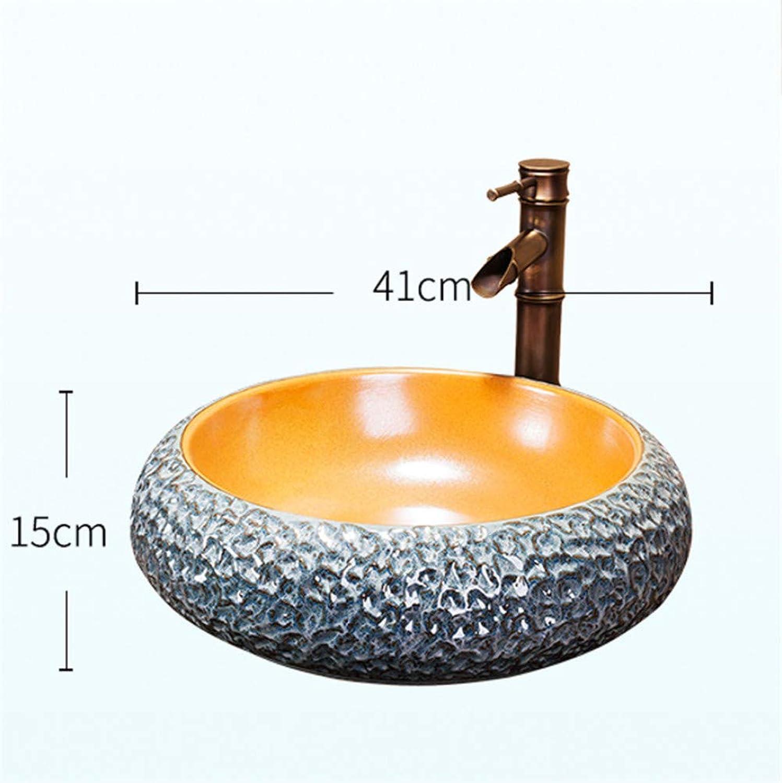 TTYY Badezimmer Aufsatzwaschbecken, Keramikwaschbecken, runde Garderobe European Countertop Art Basin Waschbecken, runde Schüssel, 41  15 cm