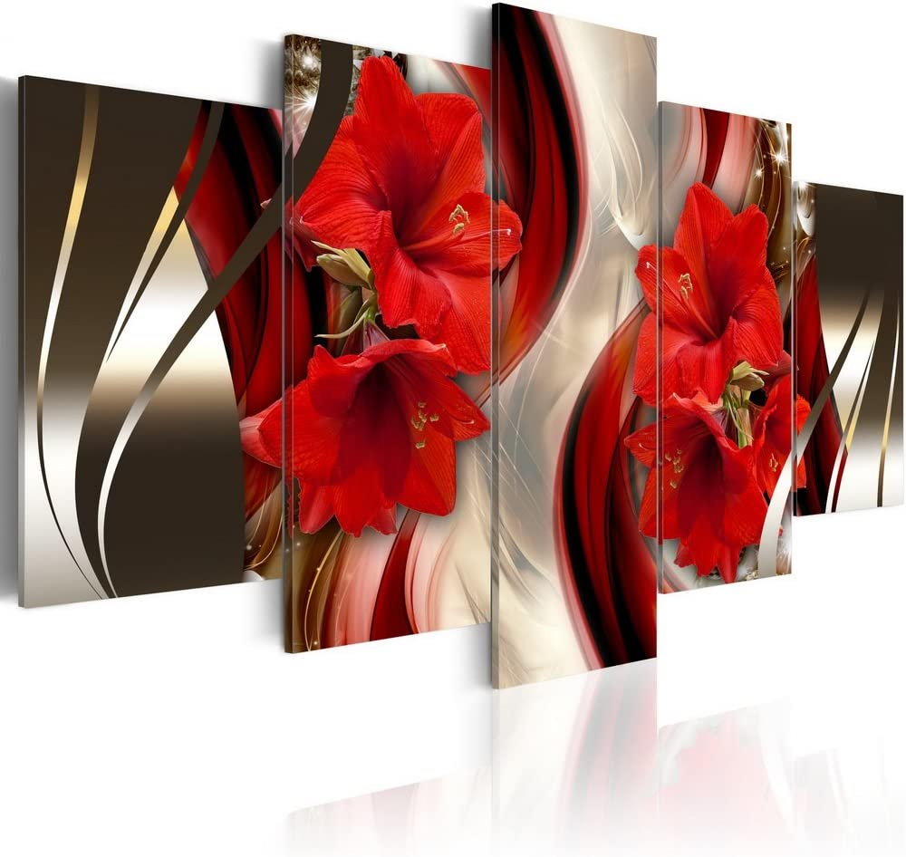 Canvas Wall Art Red Flower Print Painting Modern Contemporary Picture Home Decor Crimson Floral 5 Panels Stretched on Wooden Frame (overall 40