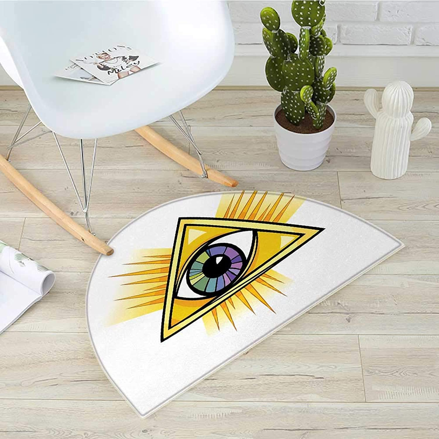 Eye Semicircular Cushioncolorful Mystical Eye in a Yellow Triangle Truth Knowledge and Wisdom Themes Entry Door Mat H 31.5  xD 47.2  Marigold Purple Green