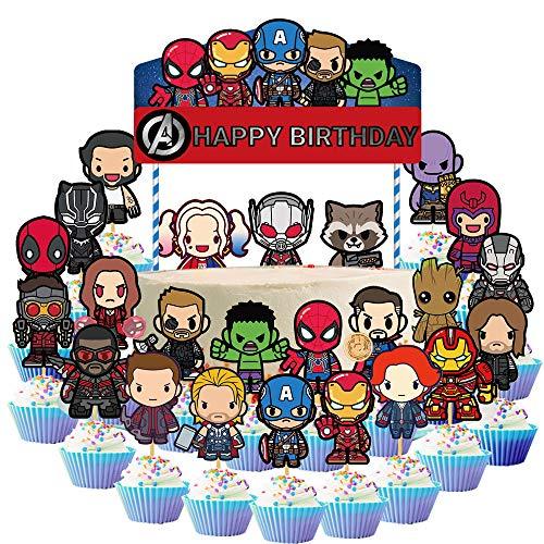 koobets 25 Pcs Avengers Cake Topper Superheros Cupcake Topper for...