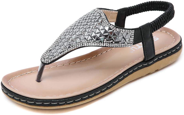 Womens Elastic Sparkle Sequin Rhinestones Sandals T Strap Beach Casual Flat Summer Flip Flops